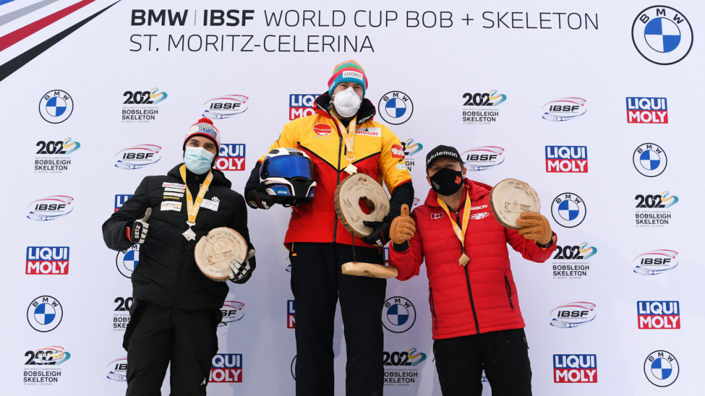 Bobsleigh: Équipe Kripps célèbre une médaille de bronze à St-Moritz