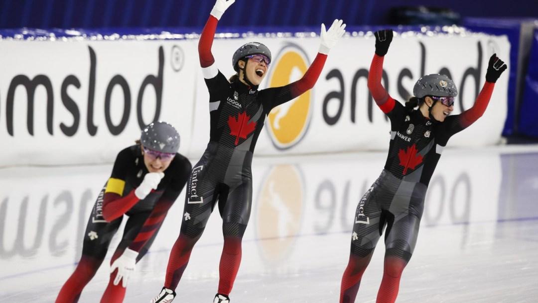 Ivanie Blondin, Valérie Maltais, Isabelle Weidemann, patinage de vitesse longue piste, poursuite par équipes, Heerenveen