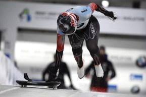 Jane Channell du Canada au départ de sa descente de skeleton des championnats du monde à Altenberg, en Allemagne, le 29 février 2020.