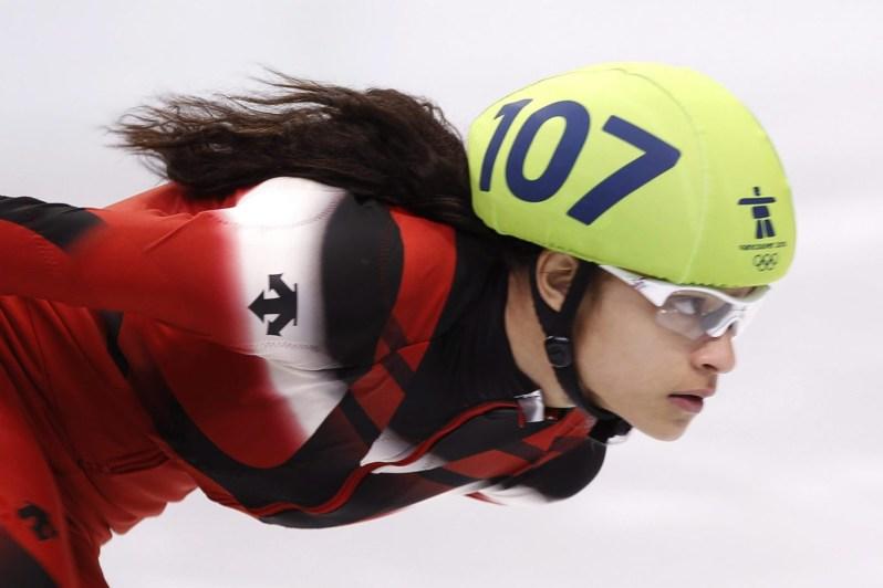 Kalyna Roberge en action lors de l'épreuve du 1500 mètres aux Jeux olympiques de Vancouver 2010 le samedi 20 février 2010.