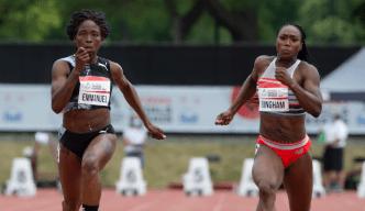 Chrystal Emmanuel, gauche, remporte le 100 m féminin devant Khamica Bingham, deuxième, le vendredi 25 juin 2021, aux Essais olympiques d'athlétisme à Montréal.