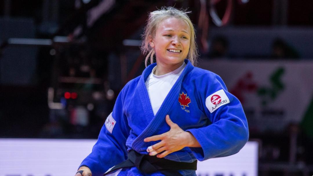 Jessica Klimkait réagit après sa victoire aux Championnats du monde de judo