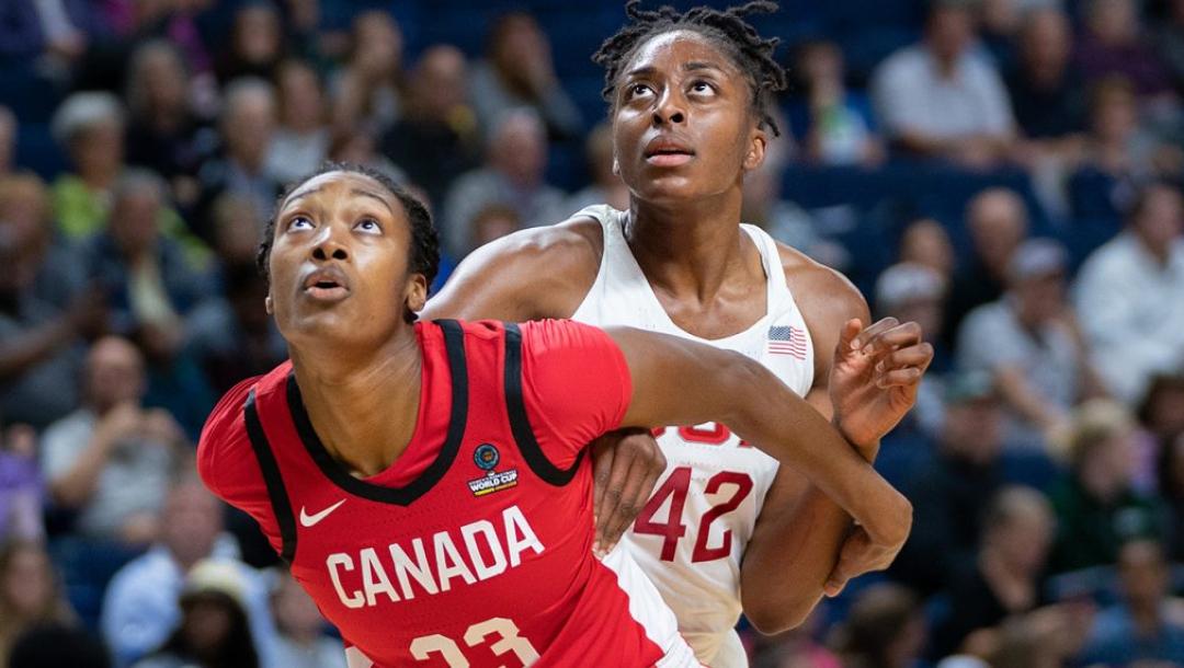 Deux joueuses de basketball surveillent le ballon