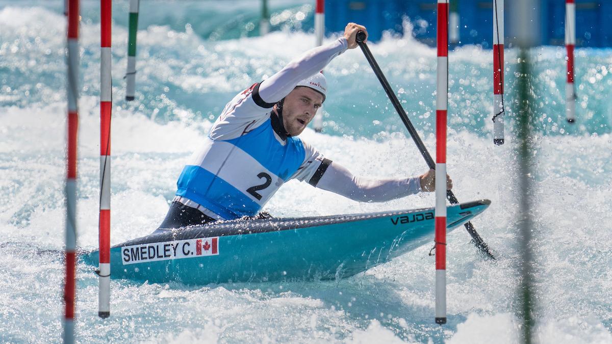 Tokyo, Japon - Cameron Smedley lors d'une séance d'entraînement en canoë-slalom au Kasai Canoe Slalom Center pendant les Jeux Olympiques de Tokyo le 19 juillet 2021.