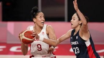 Une joueuse de basketball d'Équipe Canada évite une adversaire