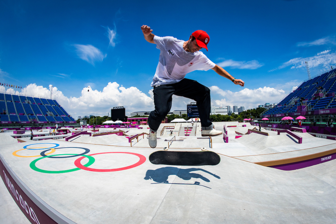Le skateur canadien Matt Berger s'entraîne au parc sportif urbain d'Ariake pendant les Jeux olympiques de Tokyo 2020 le 23 juillet 2021.