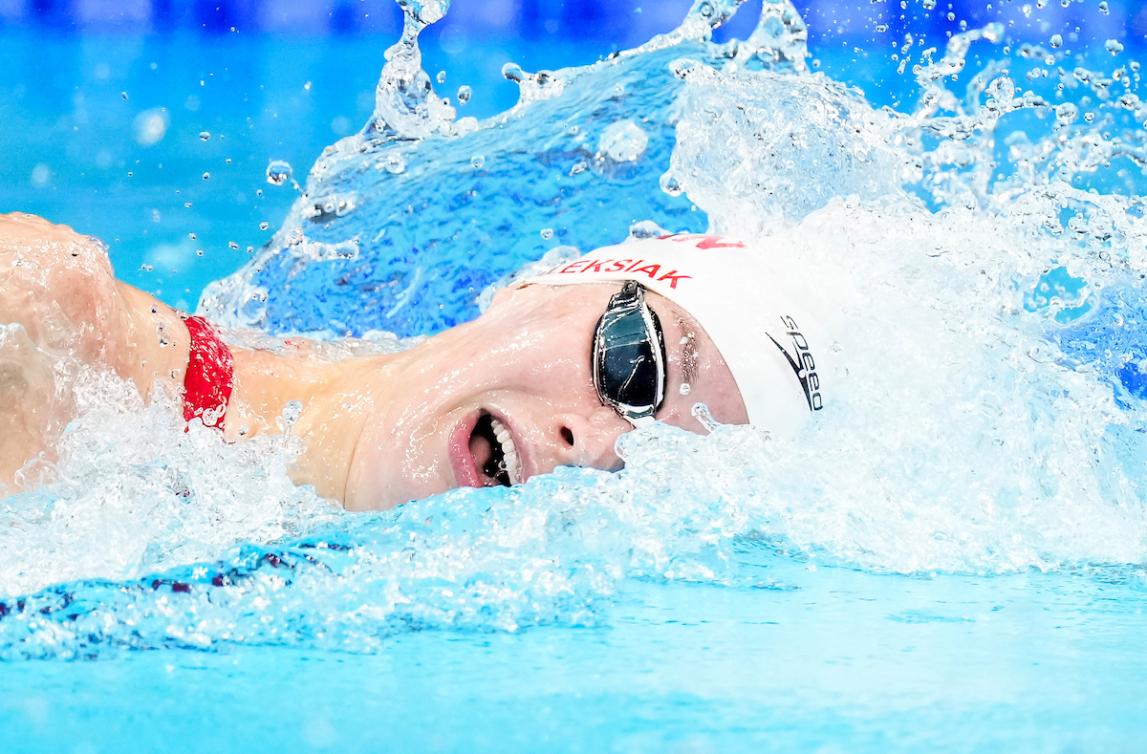 Penny Oleksiak en action au 200 m libre.