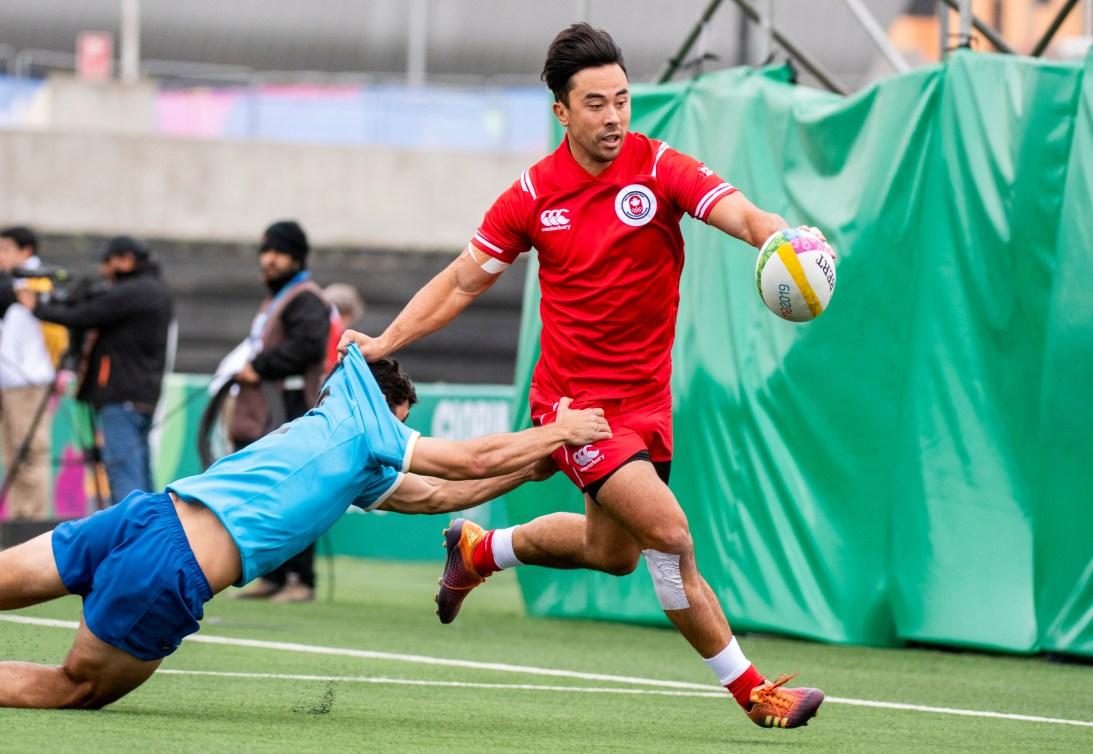 Nathan Hirayama du Canada lors d'un match de rugby à sept contre l'Uruguay.